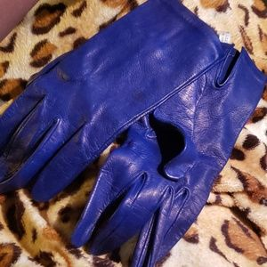 Royal blue leather gloves. Made in Italy. Sz 8